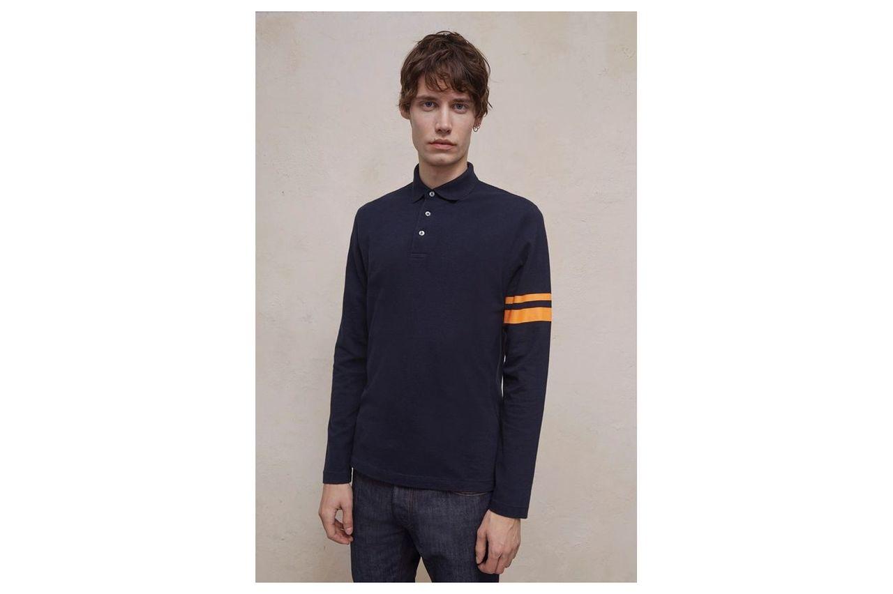Parched Pique Stripe Polo Shirt - marine/autumn glory
