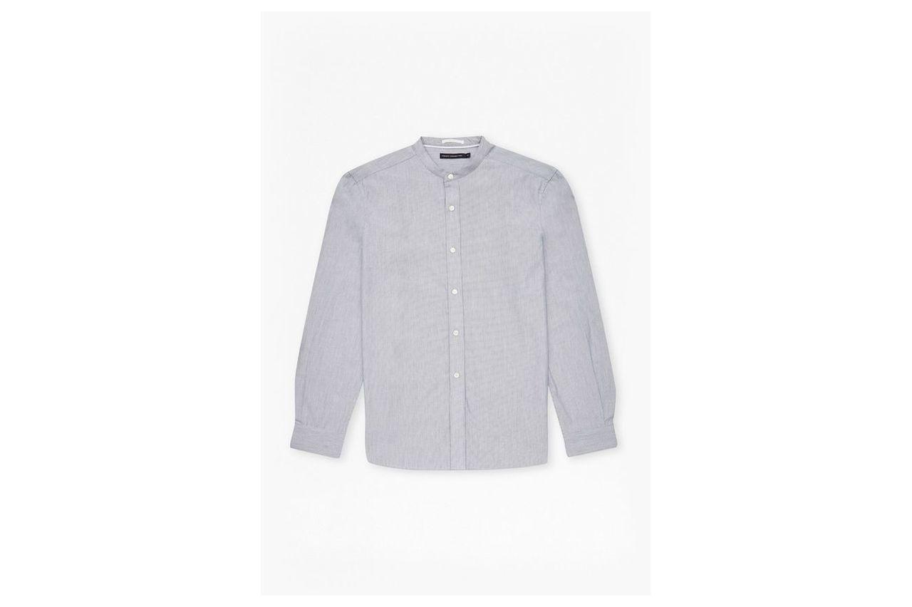 Stripe Grandad Collar Shirt  - white/marine