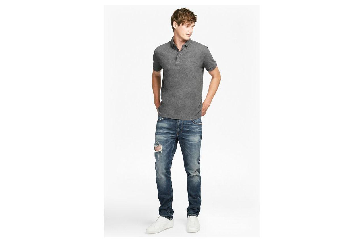 Parched Textured Pique Polo Shirt - charcoal melange