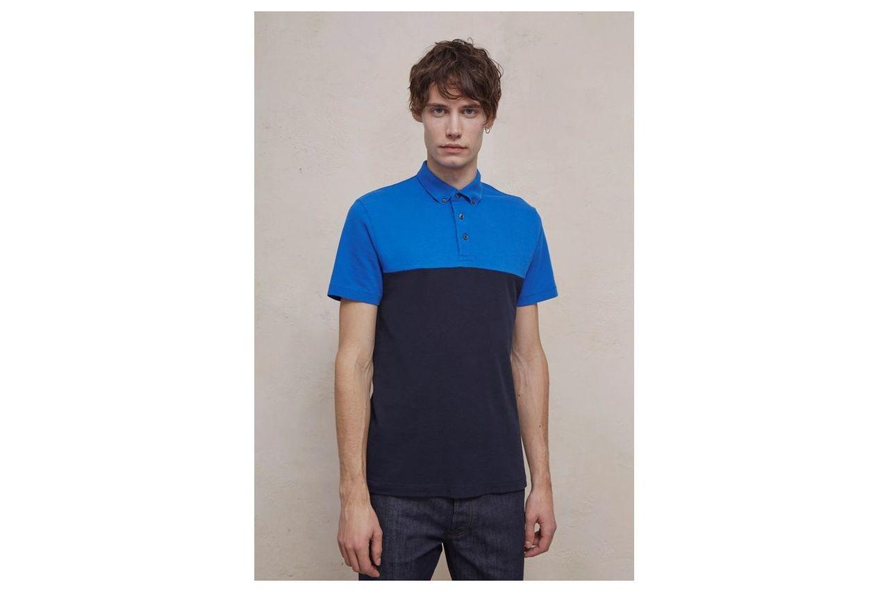 Parched Pique Panel Polo Shirt - turkish sea/marine blue