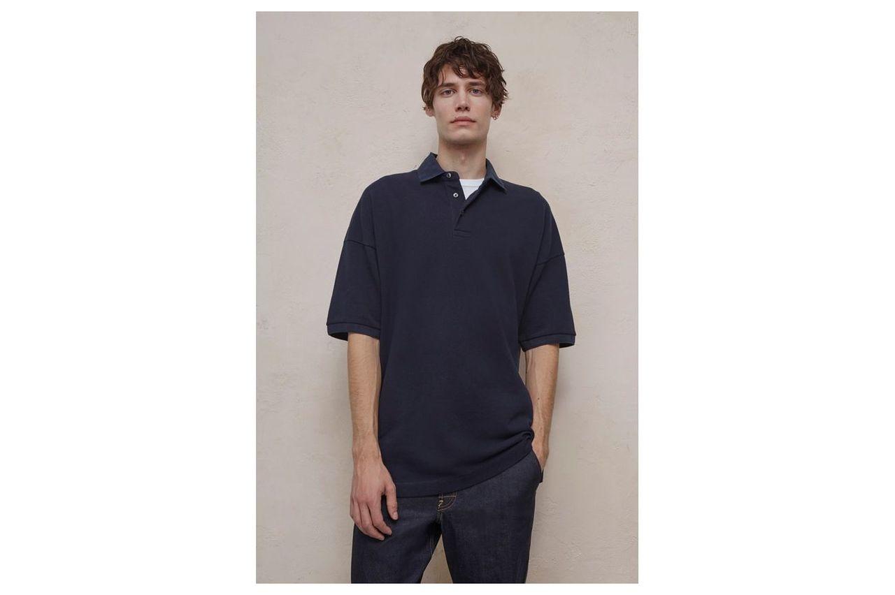 Oversized Polo Shirt - marine blue