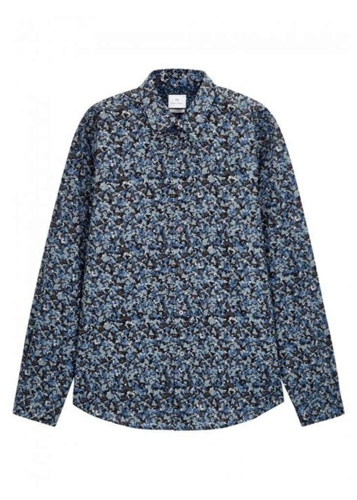 PS By Paul Smith Blue Camouflage-print Cotton Shirt - Size M