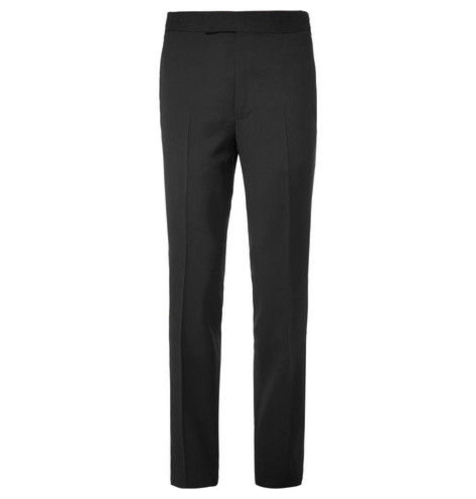 Eggsy's Black Grosgrain-trimmed Wool And Mohair-blend Tuxedo Trousers