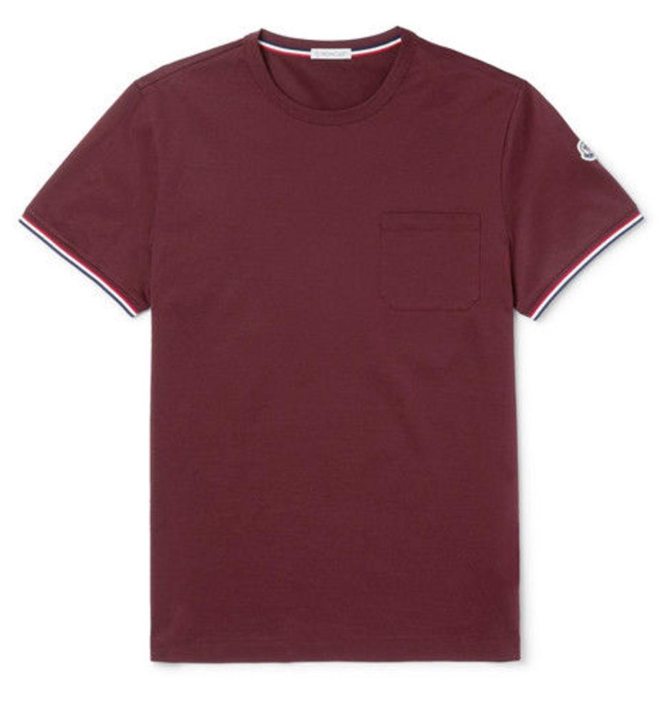 Stripe-trimmed Cotton-jersey T-shirt