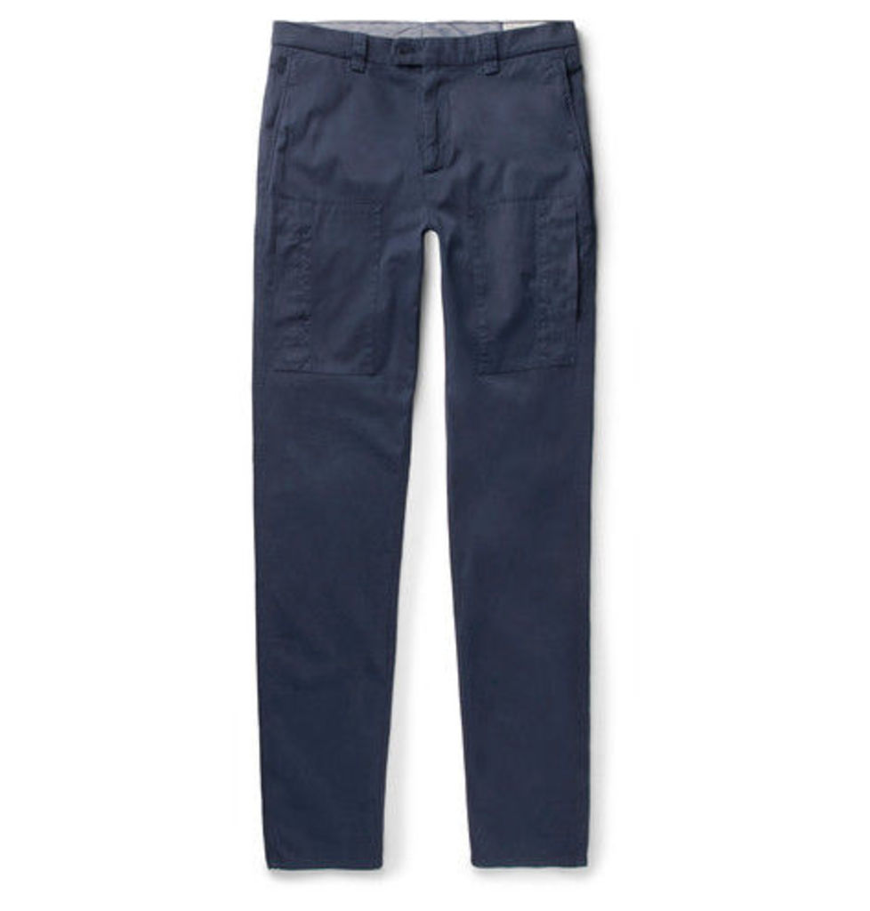 Slim-fit Garment-dyed Stretch-cotton Twill Trousers