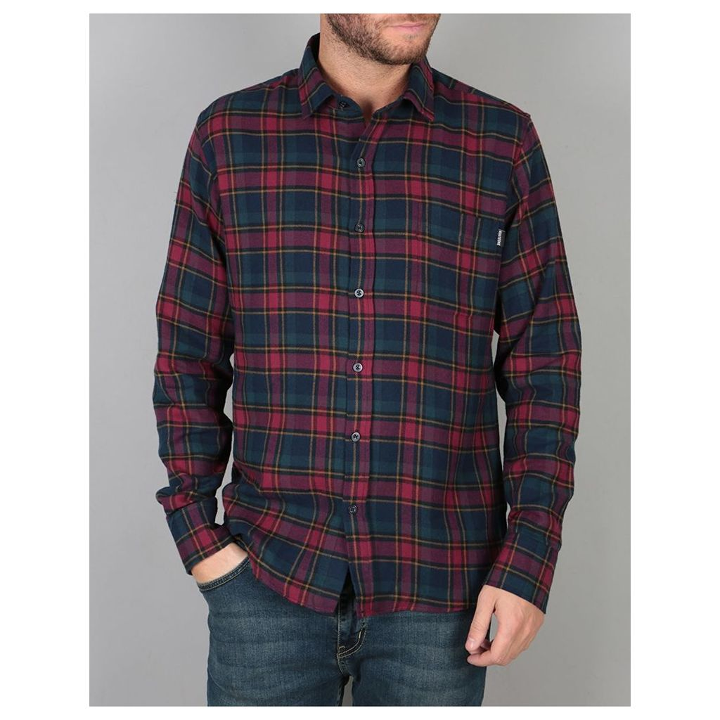 Route One Checked Flannel Shirt - Burgundy (S)