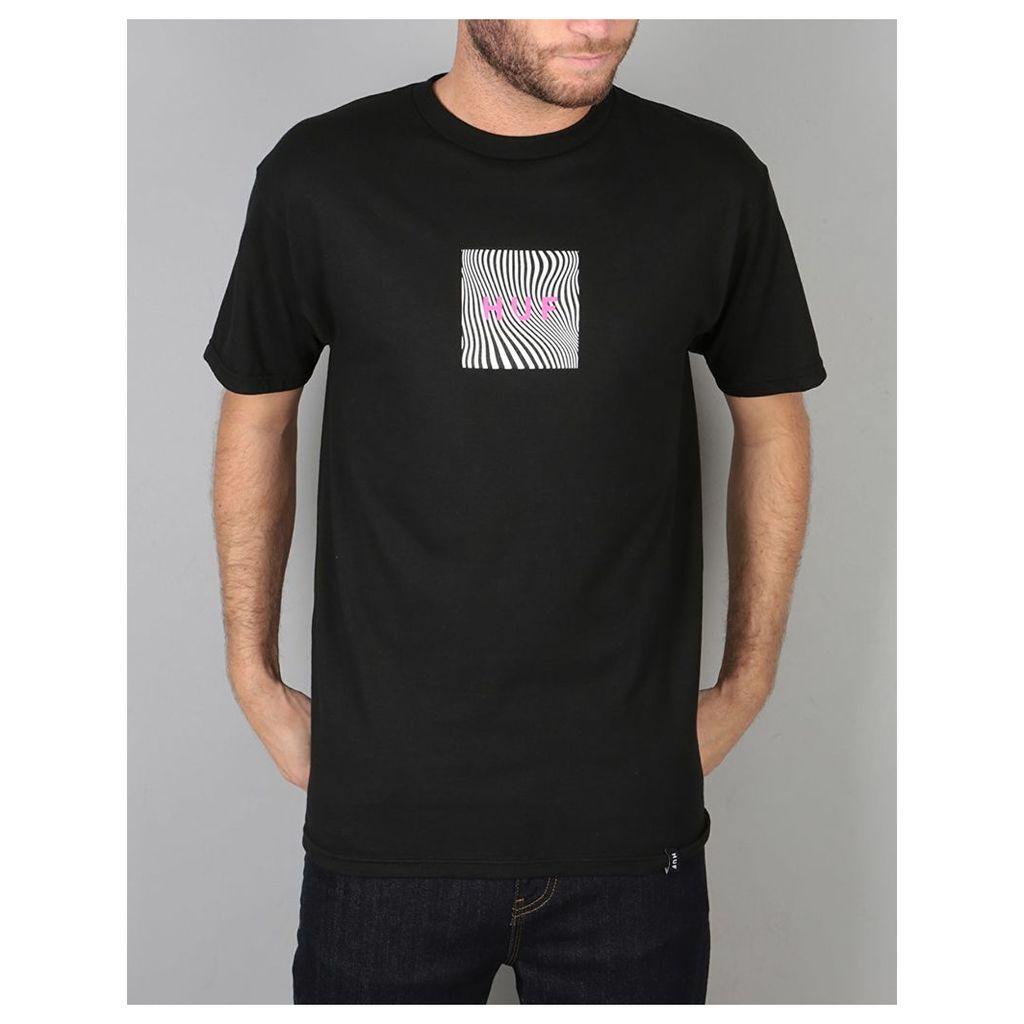 HUF Optical Wave Logo T-Shirt - Black (M)