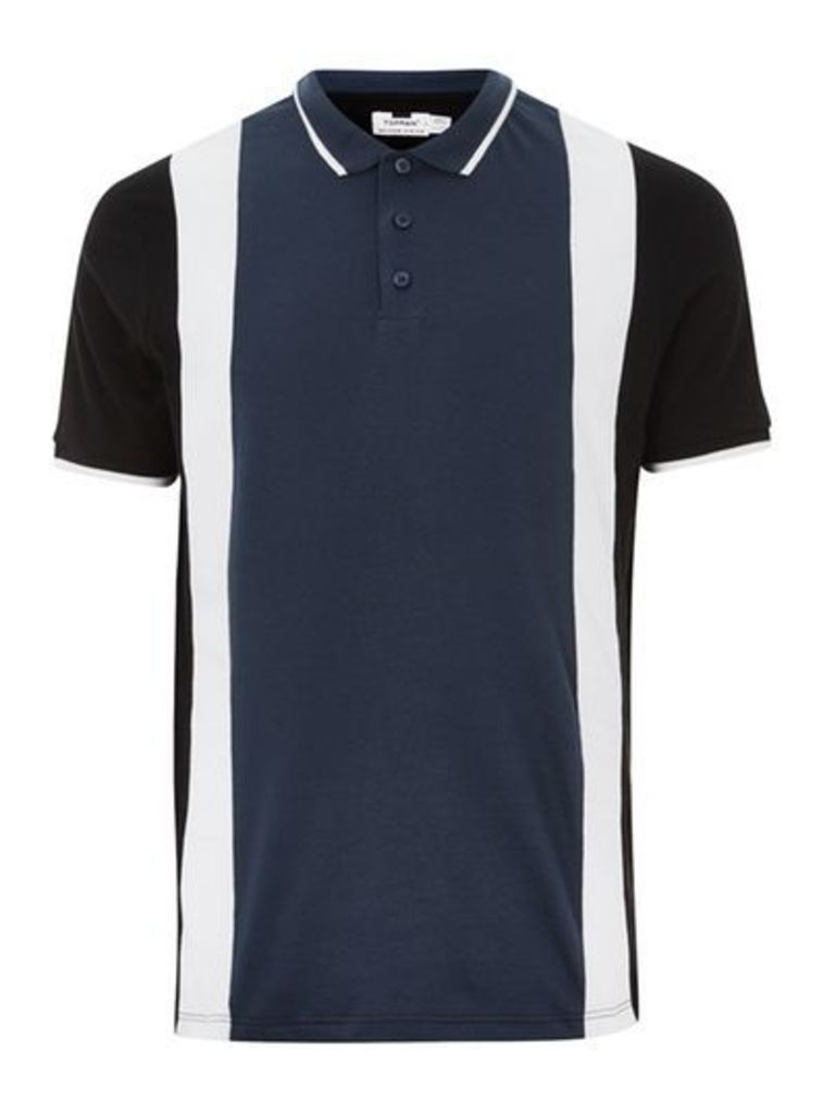 Mens Navy Panel Slim Fit Polo, Navy