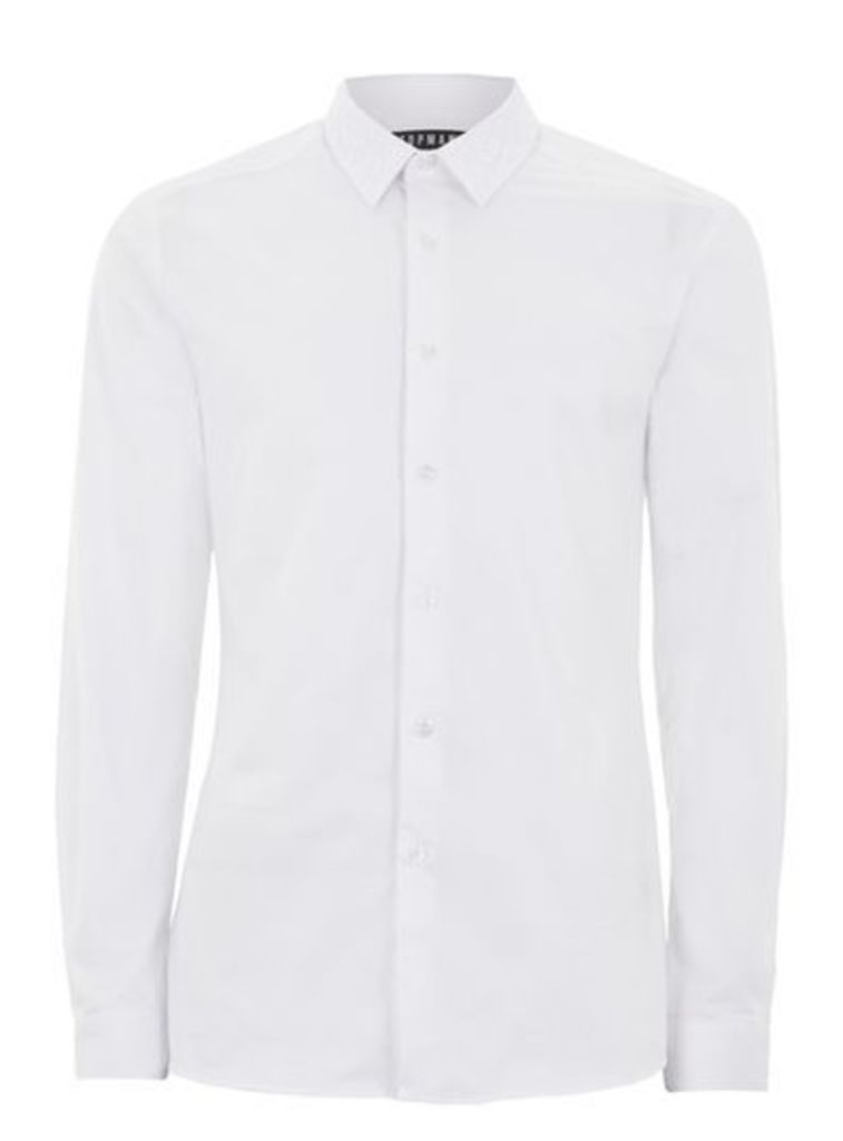 Mens White Lace Collar Shirt, White