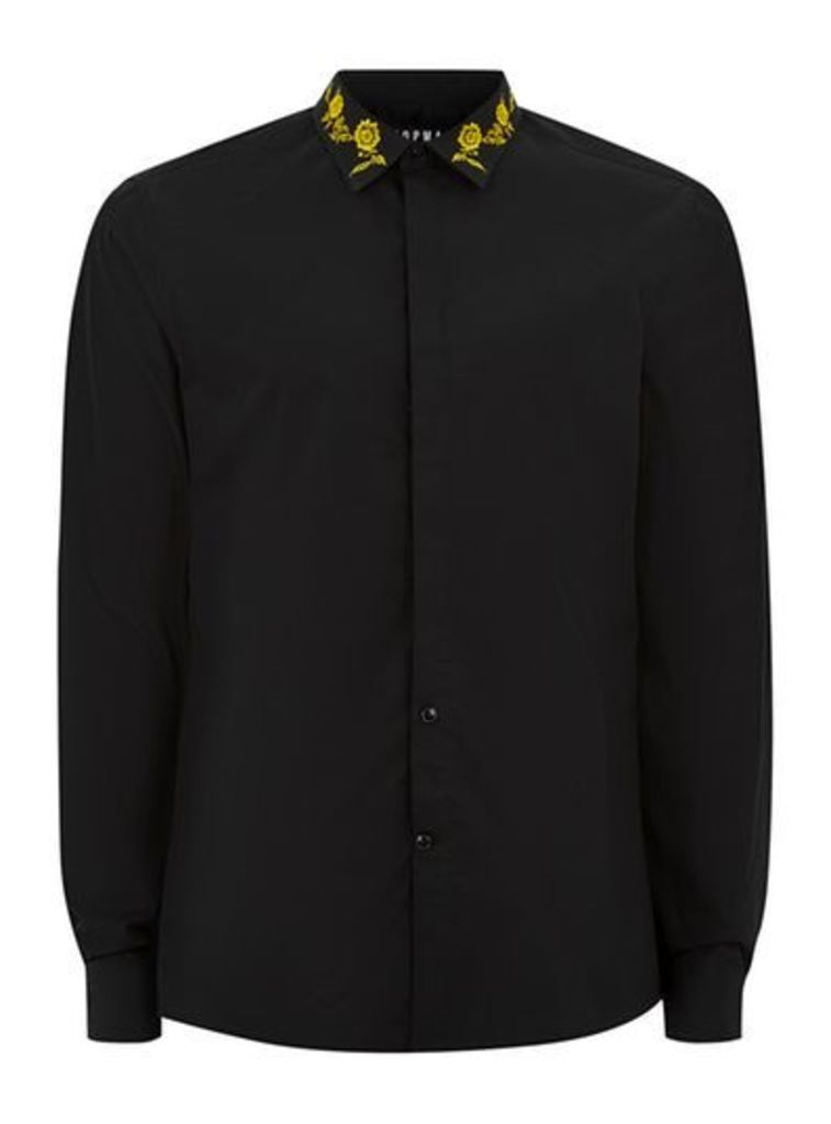 Mens Black And Gold Embroidered Shirt, Black