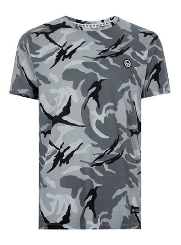 Mens HYPE Grey Camouflage T-Shirt*, Grey