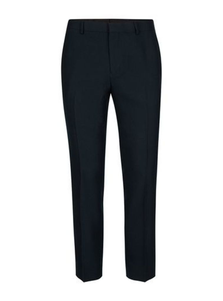 Mens Blue Navy Crepe Textured Skinny Fit Cropped Suit Trousers, Blue
