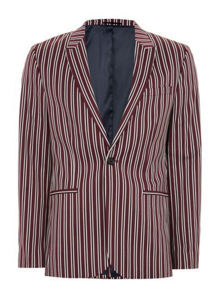Mens Red Burgundy And White Stripe Skinny Suit Jacket, Red