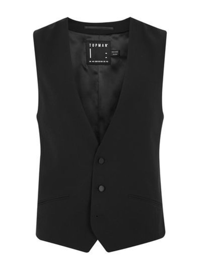 Mens Black Textured Double Breasted Tux Waistcoat, Black
