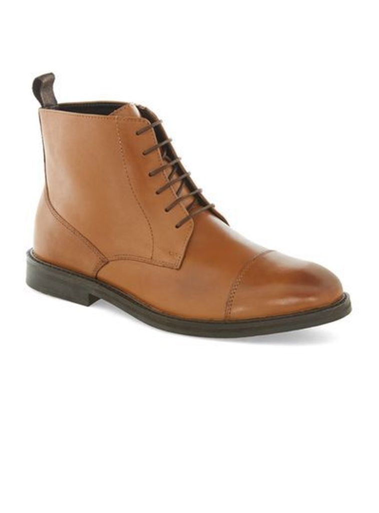 Mens Brown Tan Leather Lace Toecap Boots, Brown