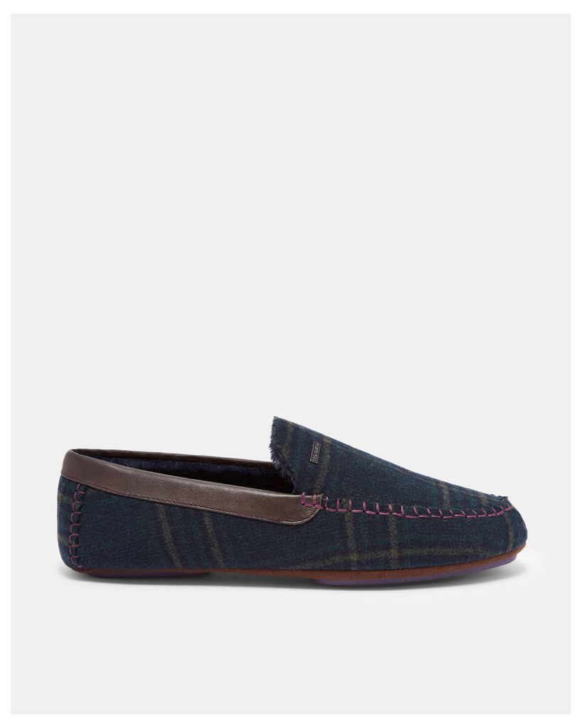 Ted Baker Suede moccasin slippers Dark Green