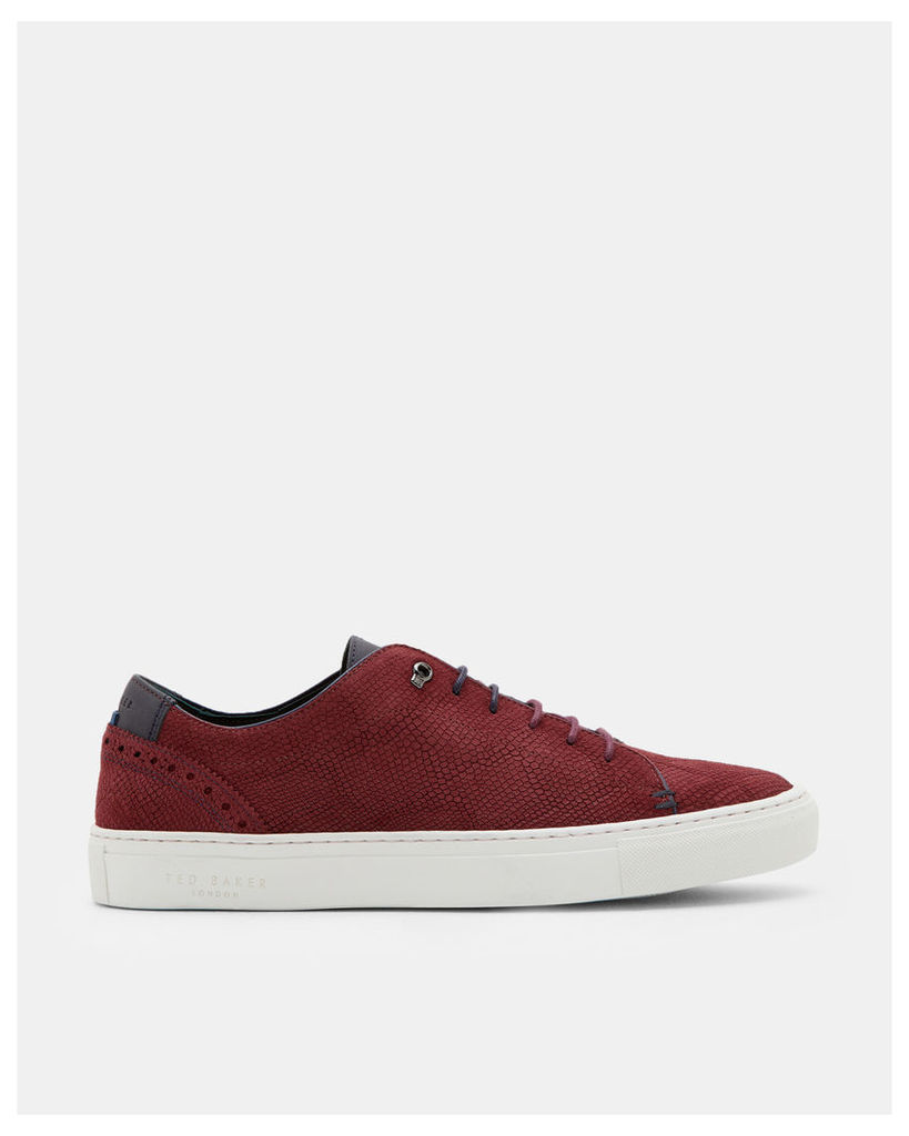 Ted Baker Brogue detail leather trainers Dark Red