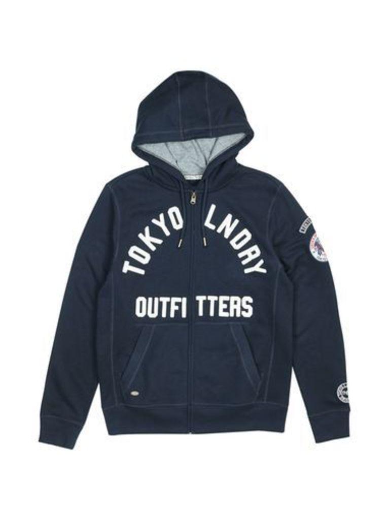 Mens Tokyo Laundry Mount Chippewa Navy Zip-Through Hoodie*, Blue