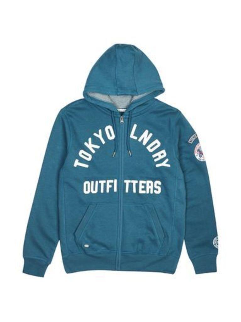 Mens Tokyo Laundry Teal Mount Chippew Zip-Through Hoodie*, MID GREEN