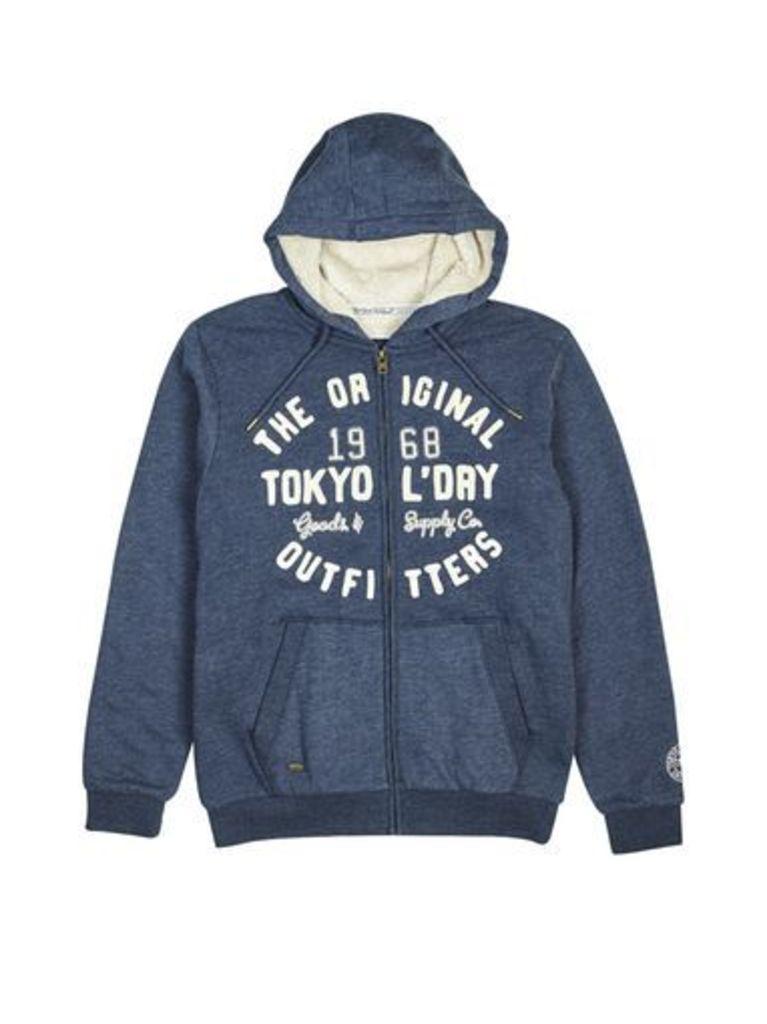 Mens Tokyo Laundry Supply Co Indigo Marl Zip-Through Hoodie*, Blue