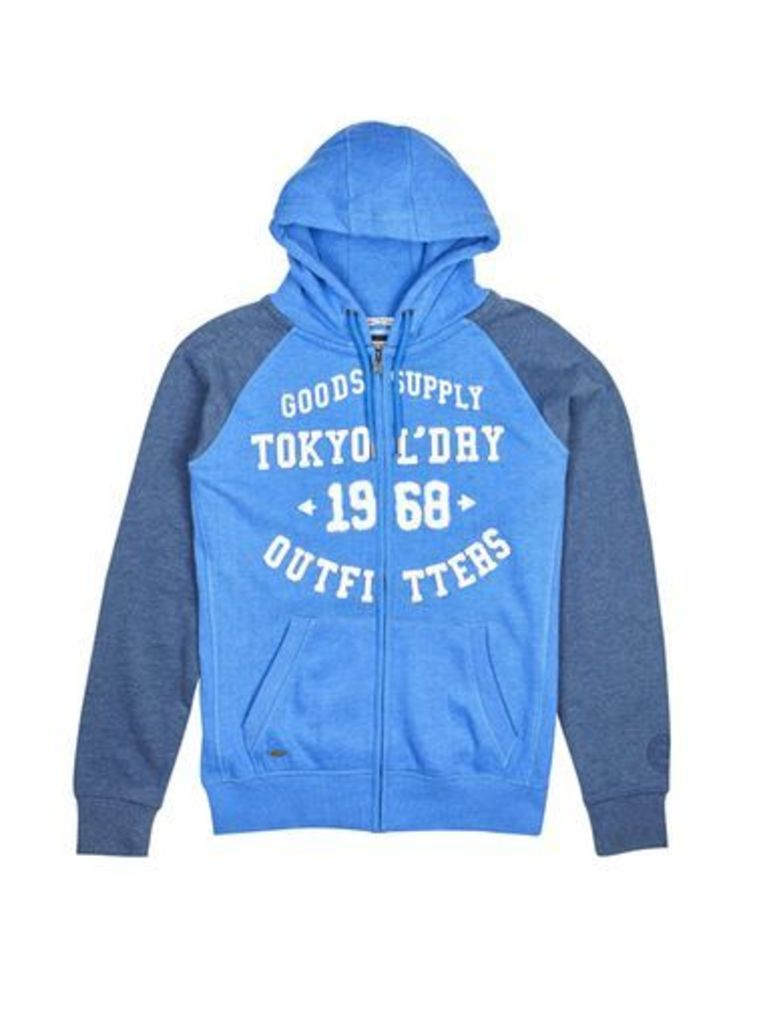 Mens Tokyo Laundry Arapaho Indigo Marl Zip-Through Hoodie*, Blue