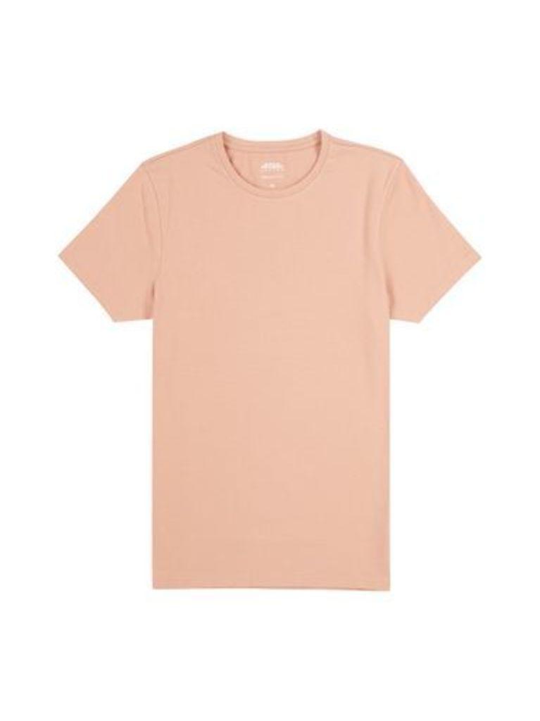Mens Hot Coral Muscle Fit Crew Neck T-shirt, Orange