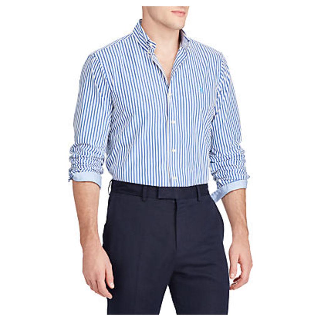 Polo Ralph Lauren Slim Fit Stripe Cotton Poplin Shirt, Candor Blue/White