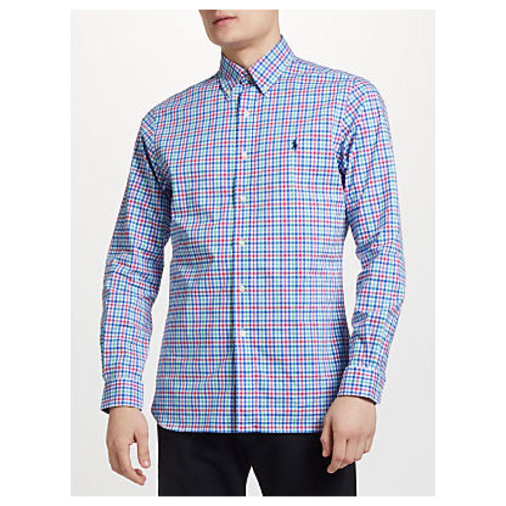 Polo Ralph Lauren Button Down Check Poplin Shirt, Blue/Pink