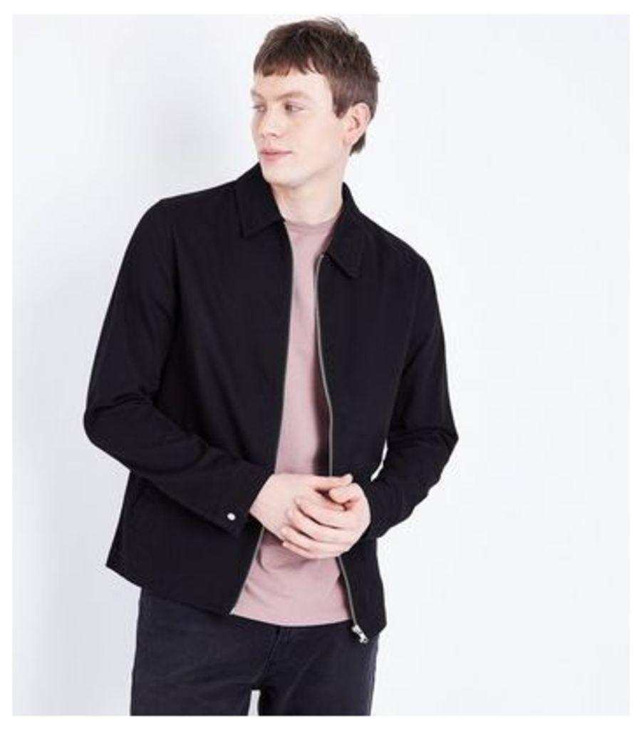 Black Zip Through Shacket New Look
