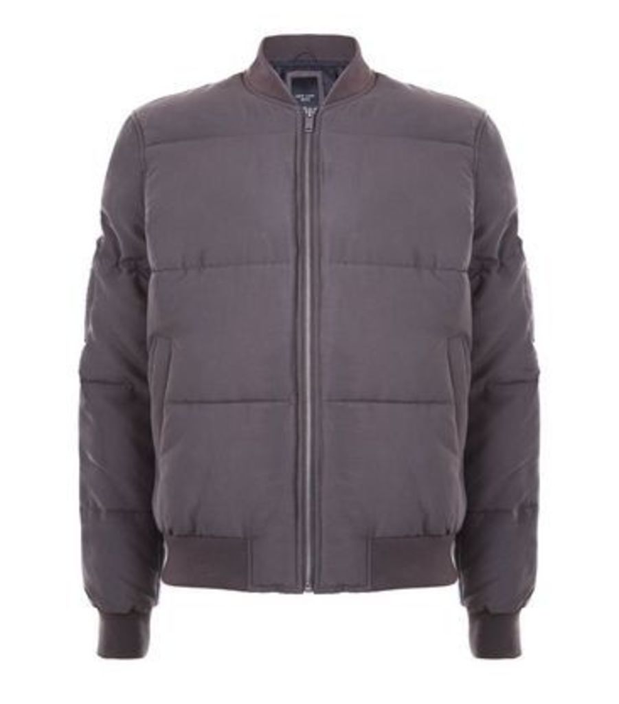 Khaki Puffer Bomber Jacket New Look