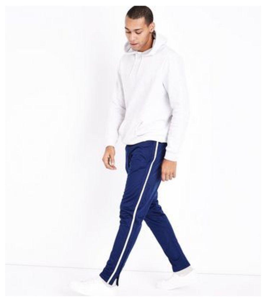 Blue Side Stripe Joggers New Look