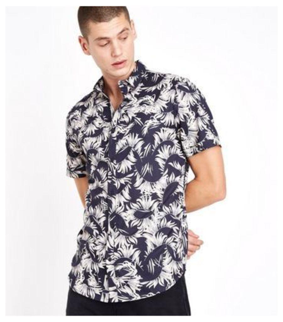 Black Feather Print Short Sleeve Shirt New Look
