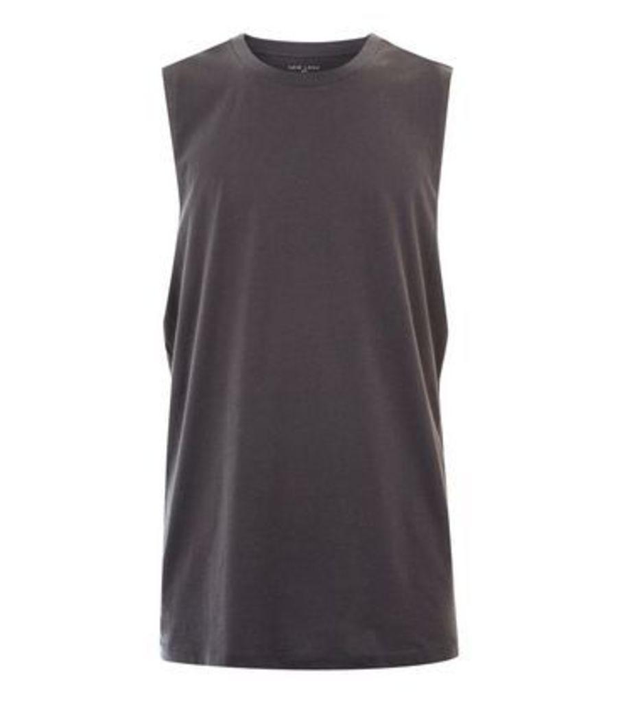 Dark Grey Dropped Armhole Vest New Look