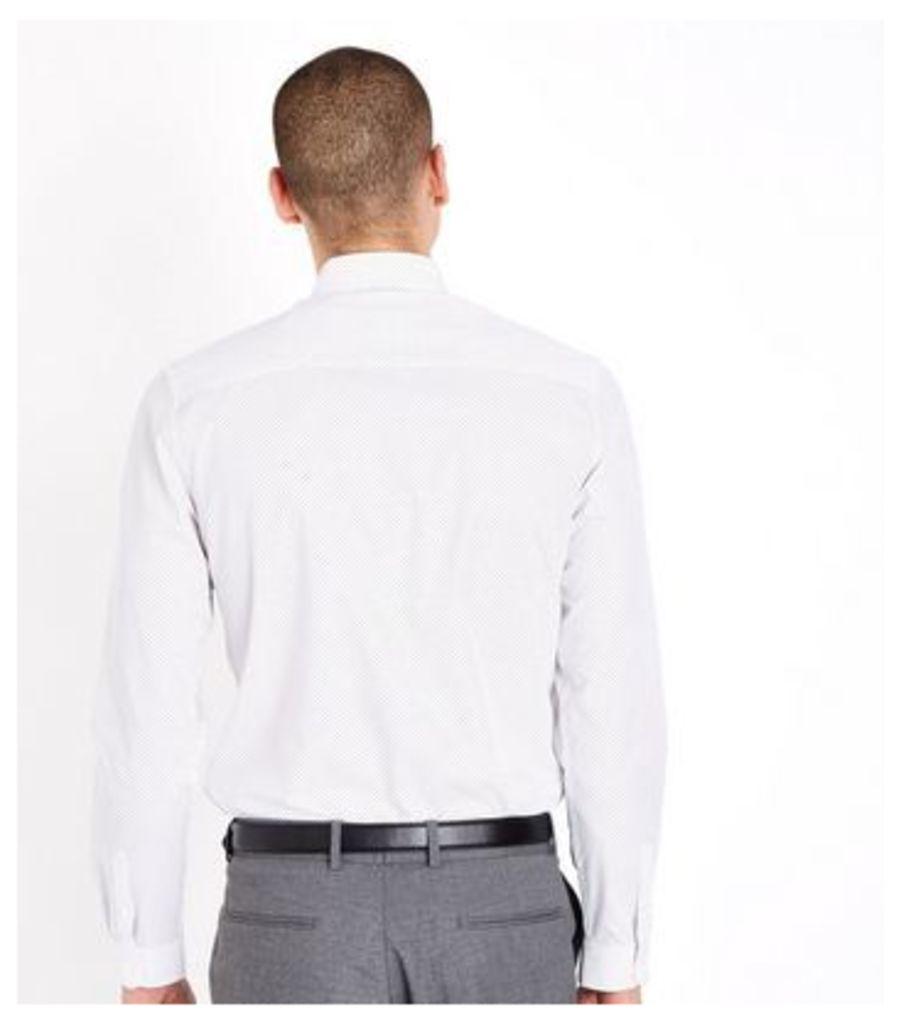 White Pin Dot Print Long Sleeve Shirt New Look