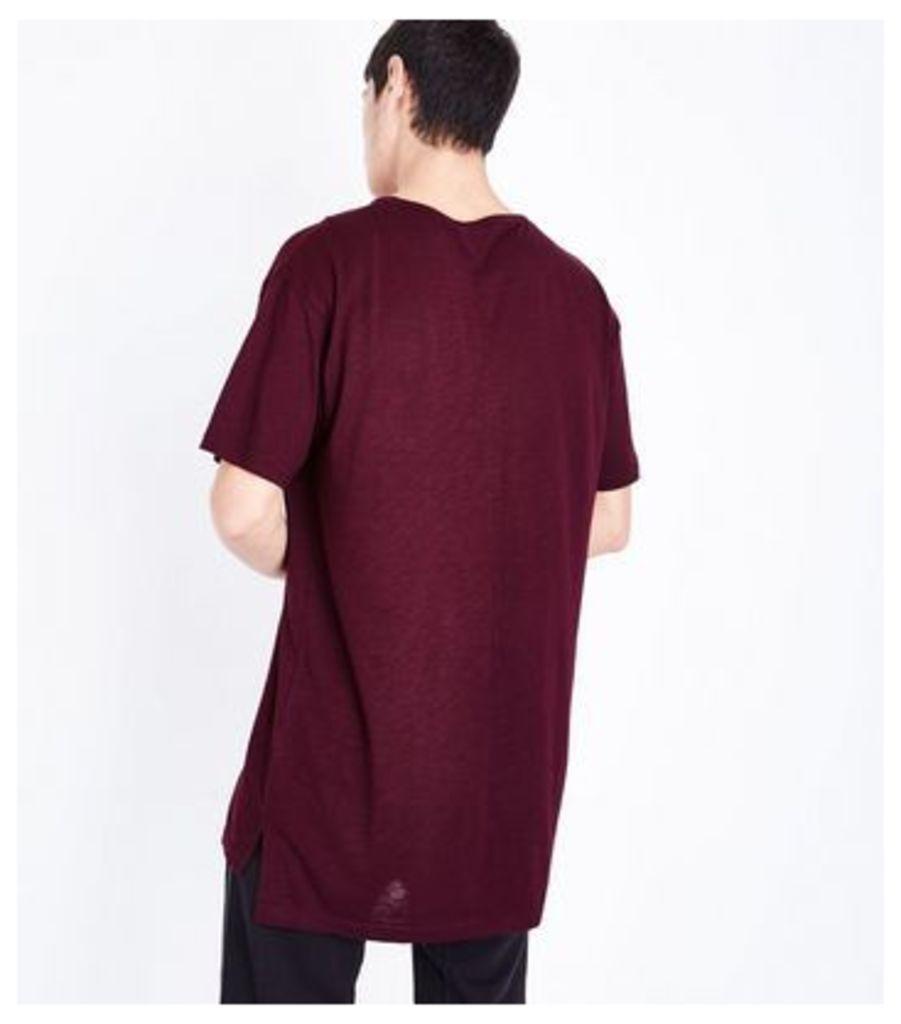 Burgundy Split Hem Longline T-Shirt New Look