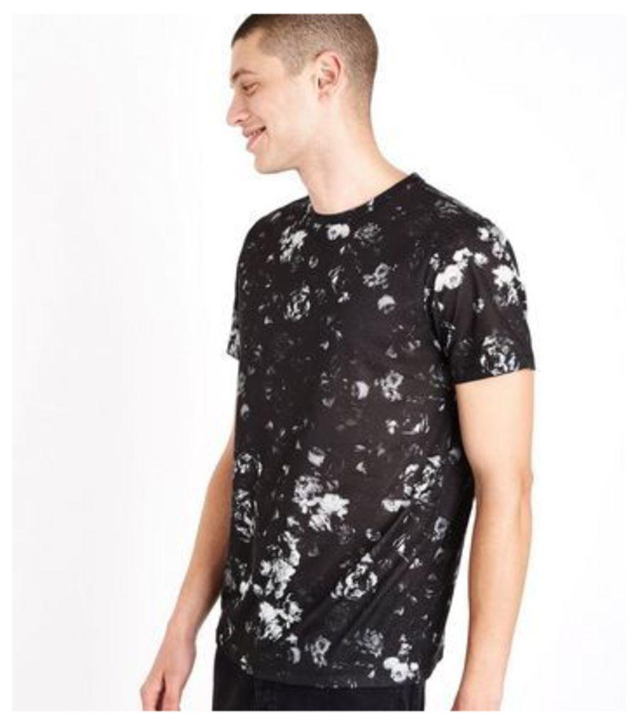 Black Rose Print T-Shirt New Look