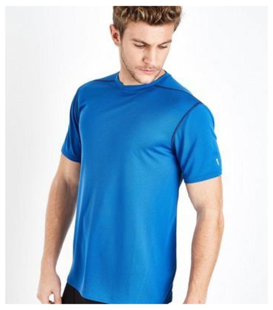 Bright Blue Mesh Short Sleeve Sports T-Shirt New Look