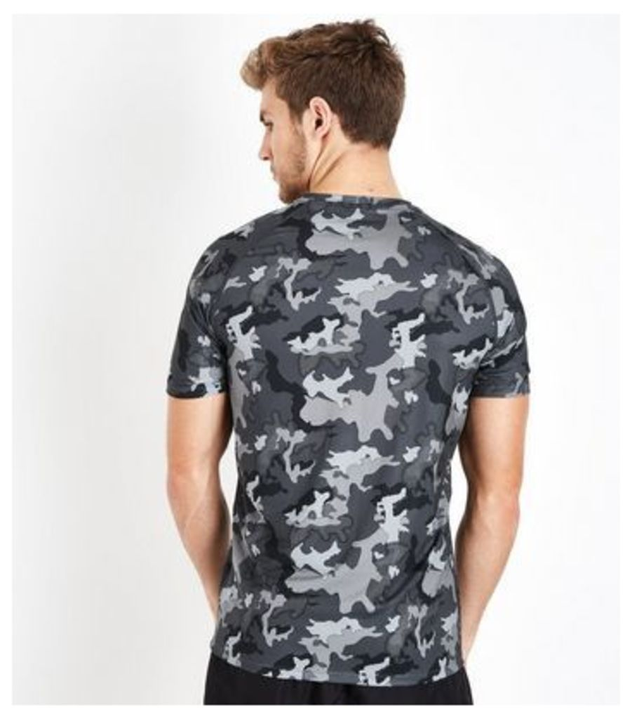 Dark Grey Camo Short Sleeve T-Shirt New Look