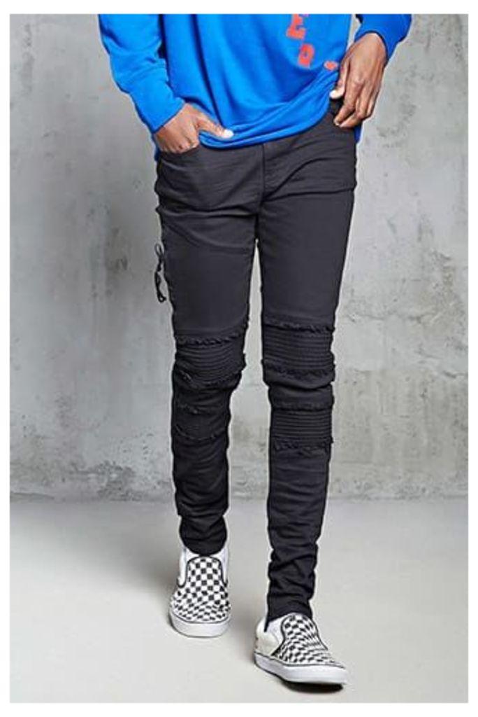 Frayed Moto Slim-Fit Jeans