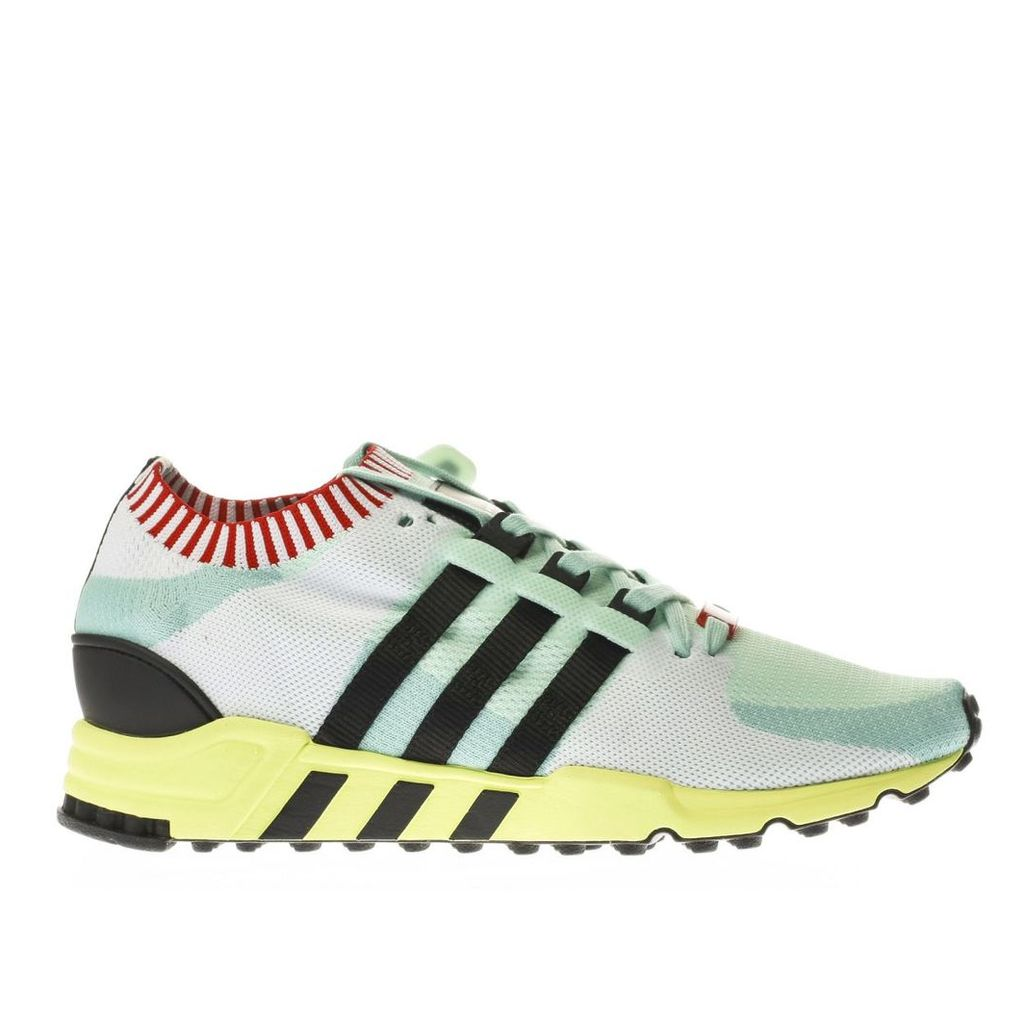 adidas white & mint green eqt support rf primeknit trainers