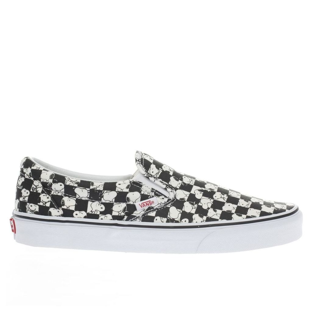 vans black & white classic slip-on peanuts snoopy trainers