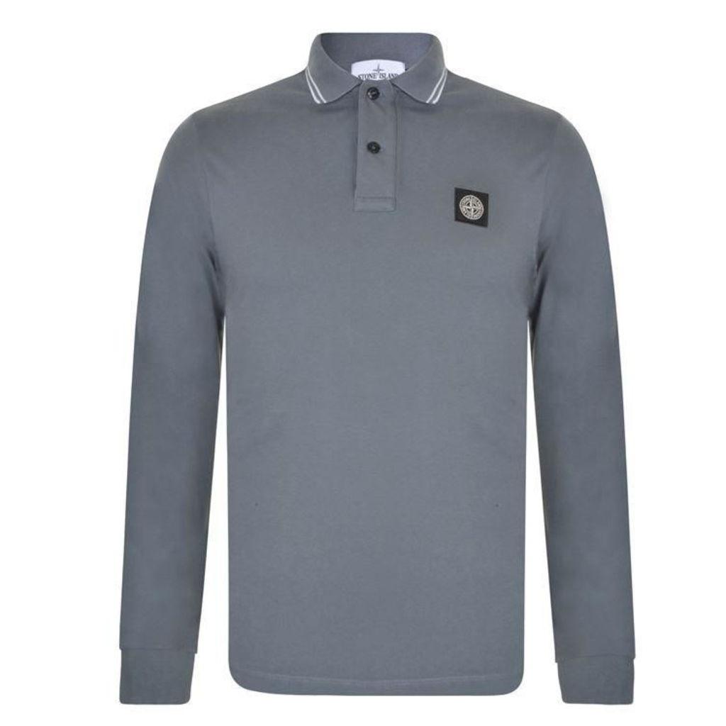 STONE ISLAND Long Sleeve Logo Polo Shirt