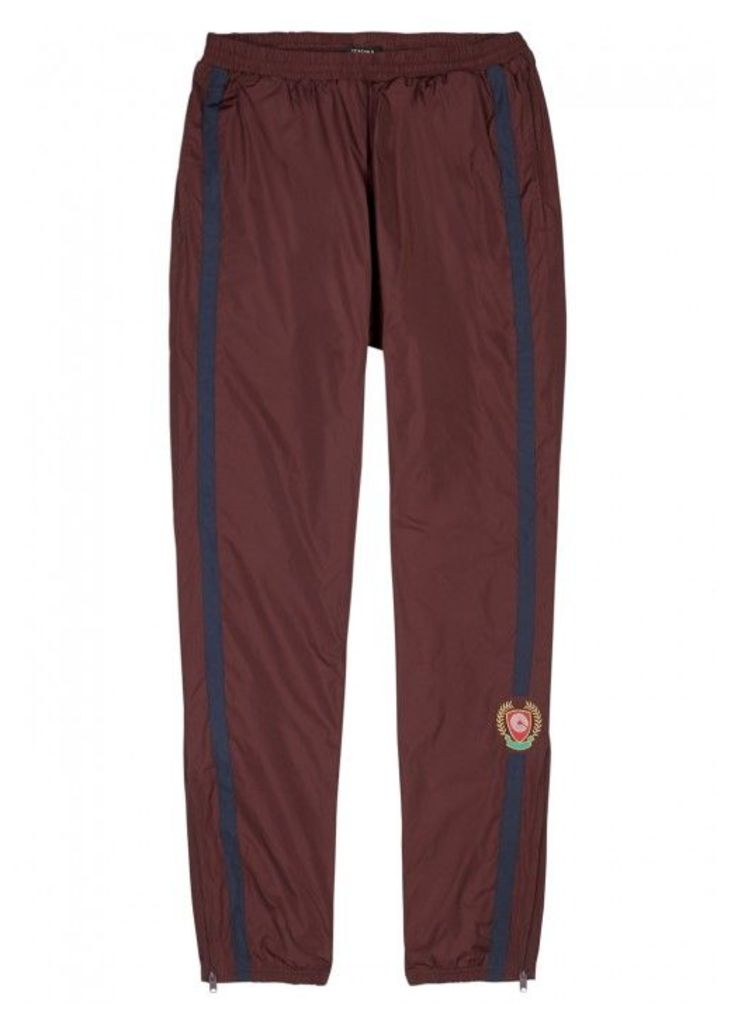 YEEZY SEASON 5 Burgundy Striped Shell Jogging Trousers - Size M