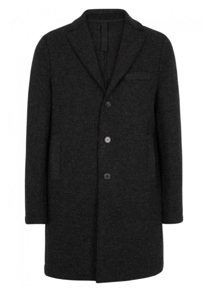 Harris Wharf London Anthracite Boiled Wool Coat - Size 38