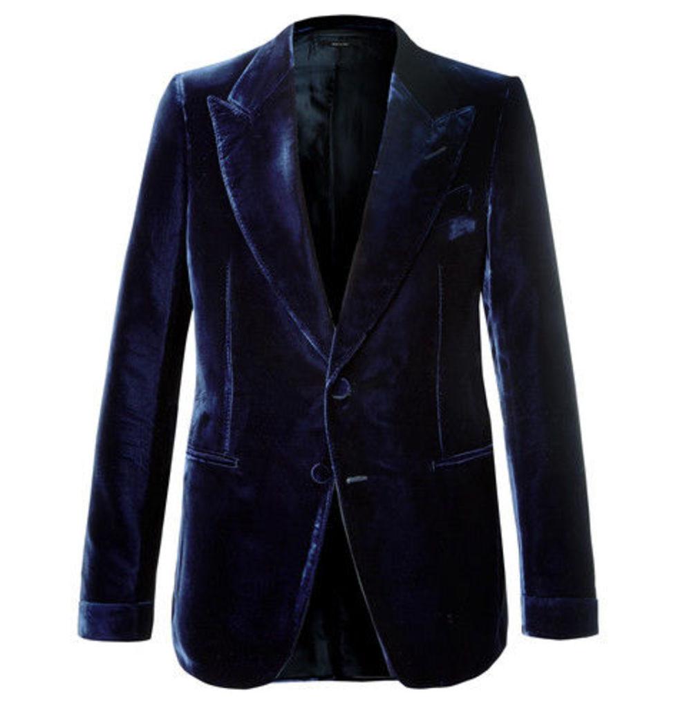 Navy Shelton Slim-fit Velvet Tuxedo Jacket