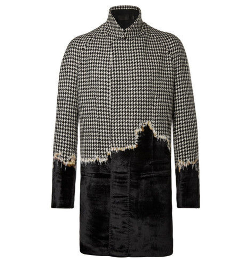 Embroidered Houndstooth Wool And Velvet Coat