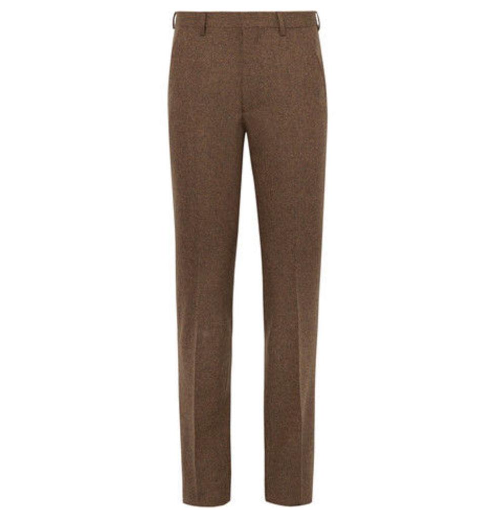 Brown Slim-fit Donegal Wool-tweed Suit Trousers