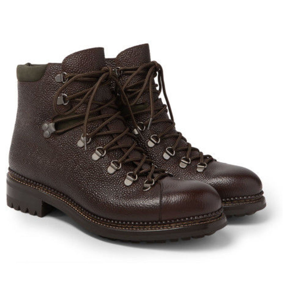 Pebble-grain Leather Hiking Boots
