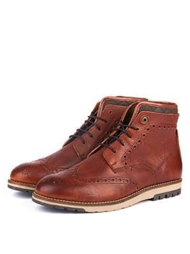 Barbour Cowan Brogue Boot, Cognac, Size 10, Men