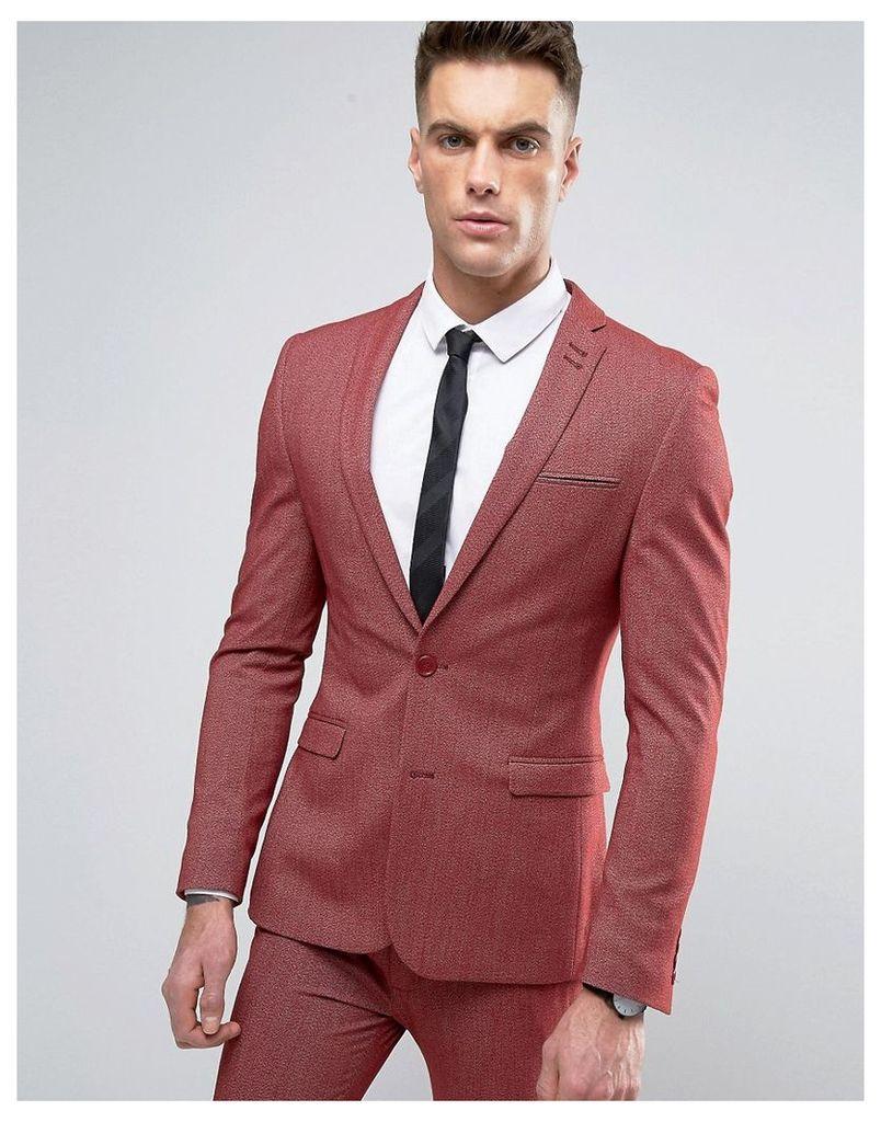 ASOS Super Skinny Suit Jacket In Red Twist - Wine twist
